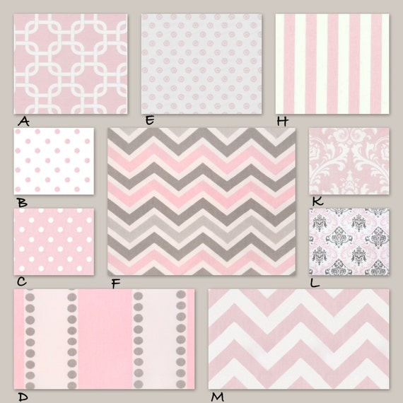 Pink and Gray Custom Crib Baby Bedding - Bella Dreams in Pink and Gray