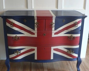 SPECIAL ORdER : Super CHiC Hand Painted Union Jack English Flag Antique  Wood Dresser (Special