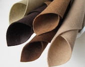 Wool Felt Fabric, Chocolate Color Story, Merino Wool, Felt Squares, 8x12 Inch Sheets, Pure Wool Felt, Shades of Brown, Felt Assortment