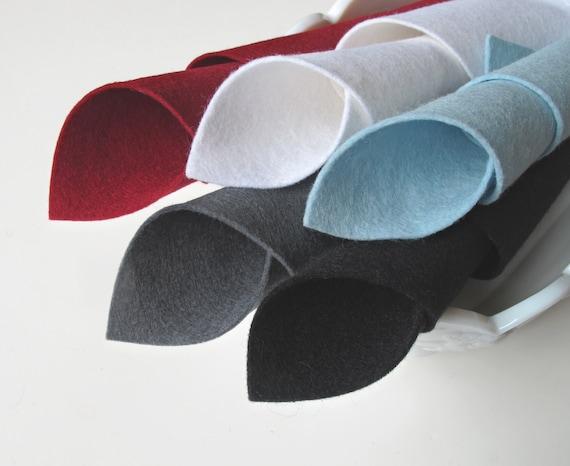 Wool Felt Fabric, Five Sheet Set, Power Suit Color Story, 100% Wool, Slate Grey, Aquamarine, Dark Red, White, Black, Felt Squares, DIY Craft