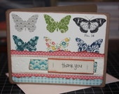 SALE Handmade Thank You Card Rustic Wood Butterfly Country Vintage Look (No. 202)