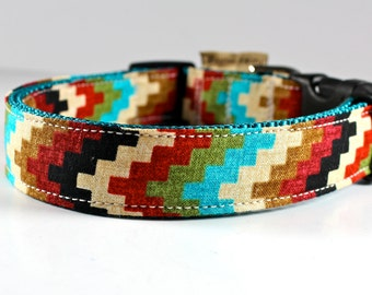 Southwestern chevron style dog collar in colorful turquoise, rust, olive green, and vanilla-- you pick size