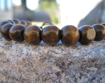 Vintage Wood Bead Adjustable Bracelet Brown Yoga Under Construction Sale