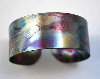Etched copper crow raven cuff bracelet corvid bracelet medium sized