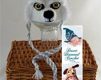 Crochet Pattern 081 - White Wolf Earflap Beanie Hat - All Sizes
