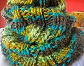 Big Rib Hand Knit Cowl Variegated Colors