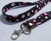 ID Badge Lanyard bubblegum pink polka dots on black