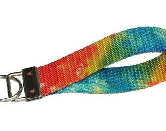 Key fob Keychain wristlet tie dye pattern in rainbow colors