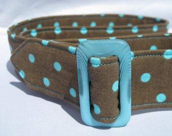 Fabric Belt - Turquoise polka dots on chocolate with acrylic buckle