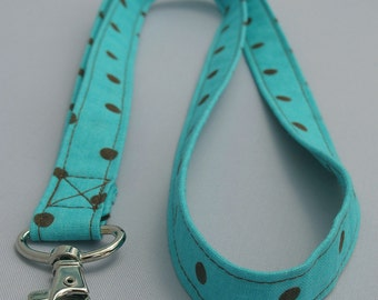 ID Badge Lanyard chocolate brown polka dots on turquoise background