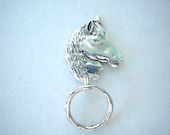 Magnetic or Pin ID Badge Holder or  Reading /Sun Glasses  Holder  Silver Metal Horse  Extra Magnet Applied