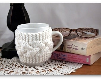 White Hand Knit Coffee Mug Cozy Cable