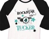 Birthday boy personalized drum set rockstar raglan Tshirt