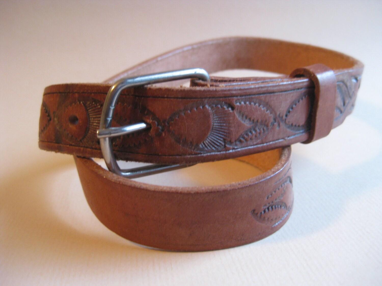vintage tooled leather belt western