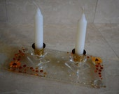Gold Shabbath candle holders by YafitGlass