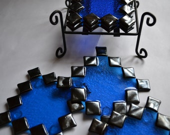 Zig-zag blue/irid black glass fused coasters with coaster holder by YafitGlass