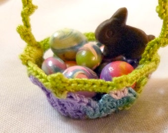 Teeny Tiny Hand Crocheted Basket filled with Goodies