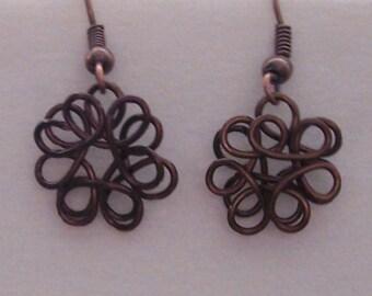 Dark Copper Wire Sculpted Earrings