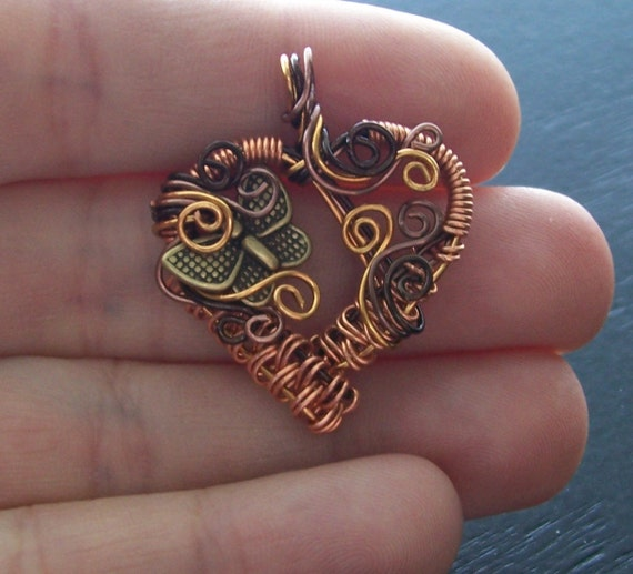 Hand Woven Copper Wire Heart And Butterfly Pendant Style