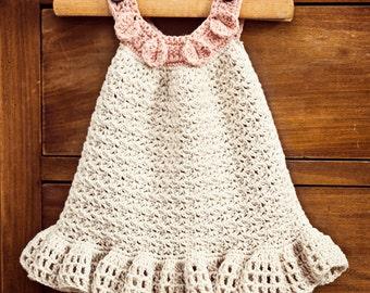 Crochet dress PATTERN - Halter Ruffle Dress (sizes up to 5 years)