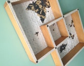 50's meets Victorian CURIO WALL SHELF Recycled Antique Ceiling Tin,Shadow Box,Blond Wood What Not Shelf,Wall Shelf,Wall Decor, C D Holder