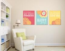 You are My Sunshine Wall Art, Sunshine Prints, for Nursery / Kids Room, 3 Print Set, Custom match colors to your nursery//N-G03-3PS AA1