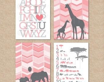 123 Safari Art Print // ABC I love you Print & 2 Herringbone Chevron Safari Prints // Nursery/Kids Giclée Art Prints //N-G42-4PS AA1 AA1