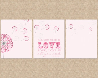 All you need is love... Beatles Quote Nursery / Kids Room Giclée Art Prints, 3 Print Set, Custom match colors to a room // N-G30-3PS AA1