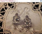 SPRING SALE Tourminalated Quartz Briolette and Crystal Sterling Chandelier Earrings
