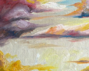 "Oil Painting, Original, Clouds, 8""x10"", Dawn"