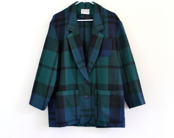 80s Plaid Pendleton Wool Warm Winter Prep Jacket Coat Blazer . Large . XL . GT . No.158.3.9.13