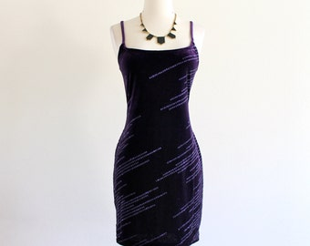 90s Purple Glitter Velvet Velour Stretch Bandage Bodycon Indie Rocker Club Mini Dress . M . D185 . No.193.3.20.13