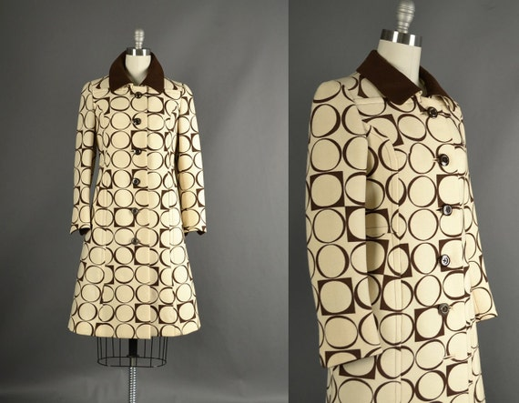 Reserved.....Vintage 1960s Jacket, 60s Coat wool mod circles designer vintage Liane Harpin Marshall Field ivory brown