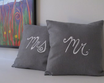 Set of 2 Decorative Pillow Covers - Mr. and Mrs. - 16 x 16 inches - Choose your fabric and ink color - Accent Pillow