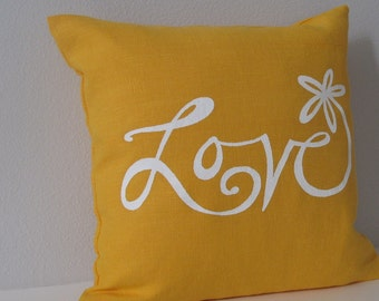 Pillow Cover Cushion Cover - Love Flower - 12 x 12 inches - Choose your fabric and ink color