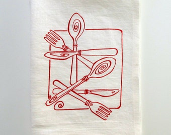 Linen Tea Towel - Utensils - Choose your fabric and ink color