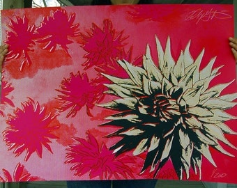 Summer Dahlia Silkscreen Print - Limited Edition - Signed and Numbered - Pink - Red - Flowers - Art Print large art oversized art
