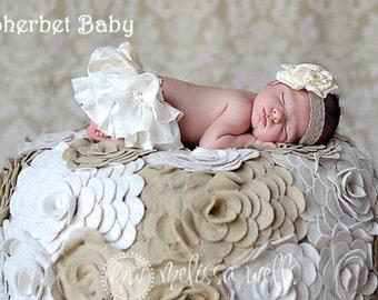 Handmade Ivory Cream Sassy Pants  Ruffle Diaper Cover Bloomer