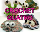 Crochet Quatro with Garden Slug, Flounder, Oyster and Sea Turtle Instant Download Patterns