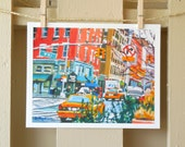 """Hells Kitchen New York Art NYC Painting Print 8x10, """"9th Avenue"""" New York City Cityscape red yellow teal Painting by Gwen Meyerson"""