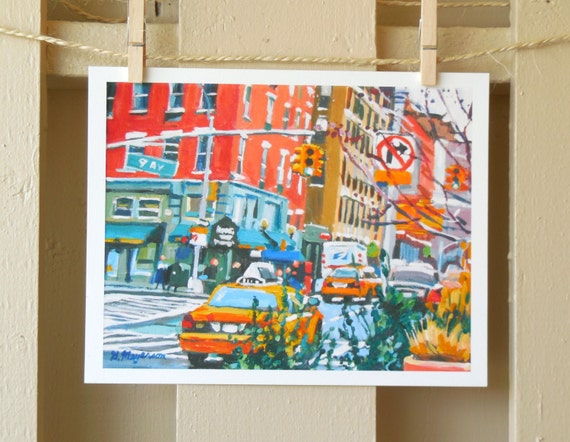 "Hells Kitchen New York Art NYC Painting Print 8x10, ""9th Avenue"" New York City Cityscape red yellow teal Painting by Gwen Meyerson"