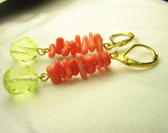 Coral earrings ... pink coral chip earrings with pale yellow glass ... sweetness of the sun