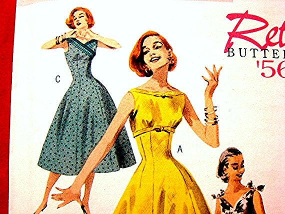 RETRO 1956 Dress Pattern flared skirt Misses Size 6 8 10 12 Butterick UNCUT