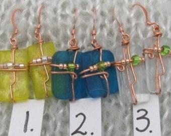 Glass Earrings - Bottle Glass Earrings - Recycled Stained Glass Earrings.