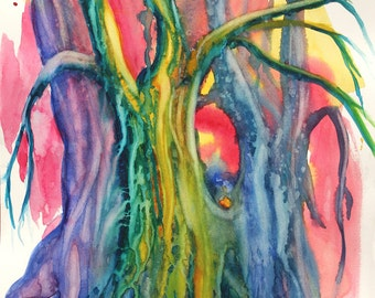 Abstract Art TreesWatercolor Original Painting by Cathy Hillegas, blue, purple, green, red, aqua, yellow