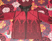 Amazing Vintage Icelandic Pattern Hooded Tapestry Loomed Wool Jacket Red and Black With Pom Poms