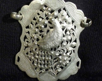 Beautiful Silver Repousse Buckle or Pendant with Peacock