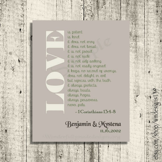 love is personalized wall art 1 corinthians 13 4 8. Black Bedroom Furniture Sets. Home Design Ideas