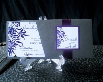 Boarding Pass Invitation DEPOSIT: Purple Floral Escape