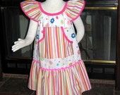 Dots and Stripes--Girls Ruffled Boutique Dress, Front pocket Pullover Style, Ric-Rac trim-Size 5-7